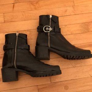 Black Zara motorcycle booties
